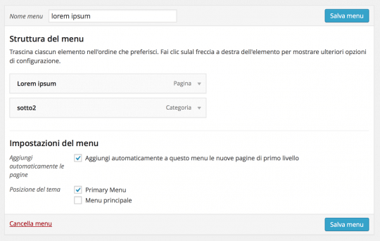 aggiungere un menu a wordpress