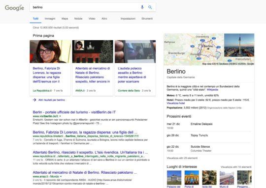 query informazionale google news